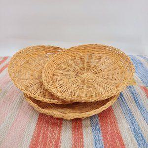 Vintage Wicker Rattan Plate Holders Natural